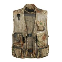 Wholesale mens waistcoat green vest - Mens Waistcoat Sleeveless Coats Summer Baggy Multi Pocket zipper Photographers Male Vest Gauze Green Camouflage Gilet for Men