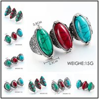 Wholesale Vintage Turquoise Gold Ring - New 6 Designs Vintage 3 Colors Turquoise Natural Stone 59~62cm Circumference Rings Alloy Gemstone Punk Style Jewelry