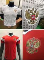 xxl russisch großhandel-Spieler-Version 2018 2019 Russland-Fußball-Trikots 2018 russisches Haus-rote Fußball-Uniform-thailändische Qualität # 10 DZAGOEV # 11 SMOLOV Fußball-Hemden