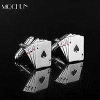 poker manschettenknöpfe großhandel-MQCHUN Mode 4A Poker Gamble Casino Manschettenknöpfe Poker Jeton Design Exquisite Silber Manschettenknöpfe Anzug Für Männer Weihnachtsfeier Geschenk