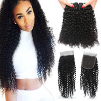 Wholesale afro kinky curly lace closure for sale - Group buy Malaysian Kinky Curly Bundles with x4 Lace Closure Brazilian Afro Kinky Virgin Human Hair With Closure Unprocessed Human Hair Extension