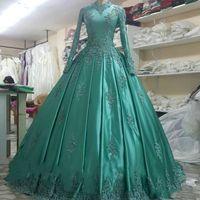 Wholesale beautiful art deco online - Beautiful High Neck Mulsim Evening Dress Long Sleeve Applique Ball Plus Size Pageant Party Dubai Arabic Wear Formal Prom Dresses Gowns