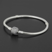 Wholesale wholesale sterling silver pandora charms - Authentic 925 Sterling Silver bracelet Bangle with LOGO Engraved for Pandora European Charms and Bead 10pcs lot You can Mixed size Free ship