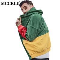 cord-mäntel großhandel-MCCKLE Farbe Block Patchwork Cord Kapuzenjacken Männer Hip Hop Zip Hoodies Mäntel Männlich 2018 Herbst Lässige Streetwear Mantel S1015