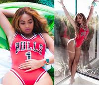 rihanna yeni stil toptan satış-2018 Yeni Yaz Tarzı Beyonce / Rihanna / Miley Yıldız Tulum BULLS 1 Bodysuit One Piece Mayo Kadınlar Tulum YWXK1803