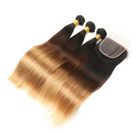 Wholesale straight thick hair - 10A B Ombre Hair Brazilian Straight Virgin Hair Full and Thick End With Swiss Lace Closure Three Tone Ombre Hair Bundles inch
