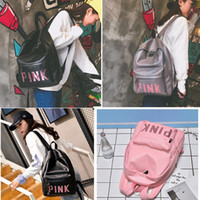 Wholesale double shoulder - 3 Colors Pink Letter Sequins Backpack Teenagers Girls PU Waterproof Travel Double Shoulders Backpacks Fashion Students School Bag AAA87