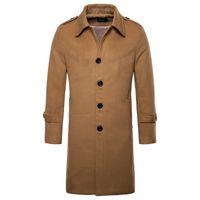новые длинные стили для мужчин оптовых-Europe/US size New  Woolen Coat Men Fashion Long Trench Coat England Style Wool Blend Single Breasted Jacket Male Overcoats