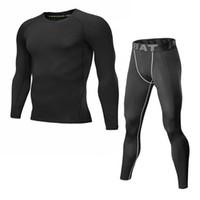 schwarze lange unterwäsche großhandel-schwarzer Trainingsanzug für Männer Set 2017 Langarm-Thermo-Strickwaren Wintermann warm Compression-Thermo-Unterwäsche
