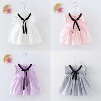 Wholesale ribbon braiding - Girls Dress Silk Ribbon Bow Soft Breathable Cotton Dresses Black Silk Braid Short Sleeve Summer 90-120cm
