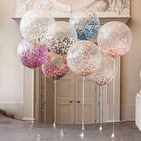 doğum günü kalp balonları toptan satış-Şeffaf Kağıt Balon Sıcak Satış Düzeni Büyük Konfeti Balonlar Parti Doğum Günü Dekorasyon Için 36-inch Yuvarlak Kalp Balon