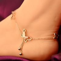 pies de titanio al por mayor-Delicada mariposa tobillera pulsera de cadena de acero de titanio de oro rosa mujer chica amante descalzo moda pie cadena joyería