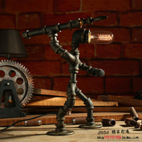Wholesale robot painting - Creative iron pipe loft Edison LED eye protection industry retro light coffee bar water pipe robot table lamp