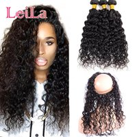 Wholesale 18 inch wavy lace resale online - Brazilian Human Hair Water Wave Bundles With Lace Frontal pieces Wet And Wavy Pre Plucked Lace Frontal With Bundle Hair Extension