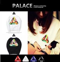 Wholesale Velvet Design - 2018 New PALACE Hoodies Printed Hoodies Triangle Black White Hooded Sweatshirts Tide Design Couple's Hoodies Plus velvet Winter Wear