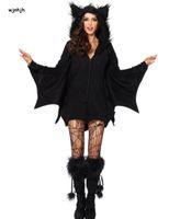 ingrosso gioco di costume sexy nero-Halloween Sexy Vampire Costume Donna Black Evil Bat Costume Vestiti Halloween Masquerade gioca costumi da vampiro
