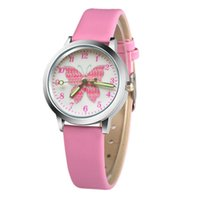 Wholesale girls watches for sale - Fashion girls kids beautiful shiny butterfly printing silver dial leather watch children students quartz gift watches