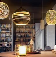 luzes suspensas clássicas venda por atacado-Design clássico DIODO EMISSOR de luz da lâmpada pingente de diâmetro 15 cm 3D colorido Banhado Espelho De Vidro Bola pendurado luminária