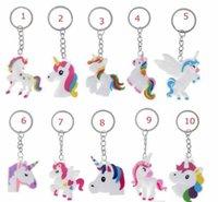 ingrosso regali arcobaleno per i bambini-11 stile Unicorn bag Portachiavi Multi Color Arcobaleno Unicorno Mini portachiavi Borsa Portachiavi ciondolo gioielli regalo decorazione bambini accessori