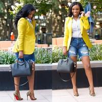 casacos de negócios amarelos das mulheres venda por atacado-Navio livre Mulheres Moda Lapela Pescoço Blazer Amarelo Formal Jaqueta Curta Feminina Slim Fit Escritório de Negócios Terno