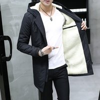 черное длинное пальто оптовых-Зима с капюшоном сгущает бархат мужская куртка кашемир черный средней длины ветровка Куртка для мужчин 2018 зима теплая тонкий пальто человек