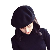 Wholesale French Red Beret - 5pcs New Fashion Solid Color Warm Wool Winter Women Girl Beret French Artist Beanie Hat Ski Cap Wholesale