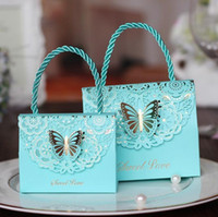 Wholesale Butterfly Design Paper - candy box bag chocolate paper gift package for Birthday Wedding Party favor Decor supplies DIY baby shower handbag butterfly design