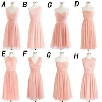 Wholesale knee length wedding dress line sweetheart online - Short Bridesmaid Dresses Blush Pink Chiffon Sweetheart Knee Length Wedding Guest Dress Simple Cheap Gowns For Bridesmaids