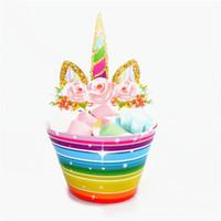 bebek duş pastaları cupcakes toptan satış-Yeni Sevimli Gökkuşağı Unicorn Cupcake Kek Sarmalayıcıları Toppers Bebek Duş Çocuk Çocuk Doğum Günü Partisi Dekoratif Malzemeleri