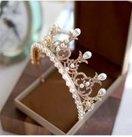 ingrosso corone d'epoca d'epoca-Perle d'epoca barocco da sposa Perle di strass di cristallo Principessa oro corona fasce Tiara copricapo Accessori per capelli Gioielli di spettacolo