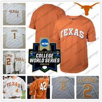 crème c m achat en gros de-Personnalisé Texas Longhorns College Baseball Blanc Orange Crème Gris N'importe quel numéro Nom # 2 Kody Clemens 51 Jake McKenzie Maillot CWS 2018 C-S XL