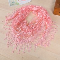 Wholesale lace triangle scarfs online - Tassel Summer Lady Lace Scarf Flexible Women Triangle Bandage Floral Scarves Shawl Marriage Gift Fashion Creative xy aa