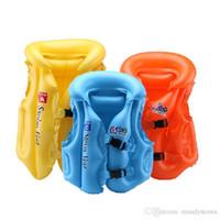 aufblasbare anzug kinder großhandel-Großhandels- 3colours Sommer Schwimmen Schwimmweste Kinder aufblasbare Schwimmen Weste Badeanzug Schwimmen Jacke für Kind Weste Driften 2s