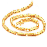 jóias de cobre fresco venda por atacado-Luxo 18 K 51 cm Corrente de Ouro Para Os Homens Pingente Cadeia de Ligação de Aço Colar De Bambu Presente para Cool Men Jóias de Ouro-banhado A Cobre Presente de Natal