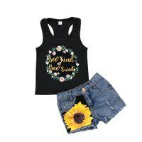 kız kot pantolon toptan satış-Çocuklar Bebek Kız Giysileri Kıyafetler Çiçek Kolsuz Tişört Tops + Denim Kot Pantolon Şort Ayçiçeği Yaz Set