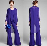 más el tamaño de los trajes de pantalón azul real al por mayor-Nuevo diseñador Juego de 3 piezas Royal Blue Chiffon La madre de la novia Trajes de manga larga Vestidos de fiesta para mujer Vestidos de noche de tallas grandes