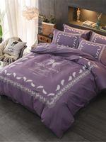 Wholesale pink floral print sheets for sale - Group buy 4Pcs Bed Sheet Set Solid Pink Modern Style Floral Comfy Bedding Set