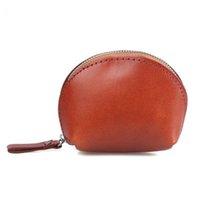 sacs en cuir tanné végétal achat en gros de-coquille cuir tanné végétal sac monnaie en cuir nouveau portefeuille en cuir rétro sac à main petit corps grande capacité Porte-monnaie