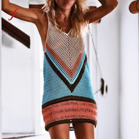 Wholesale handmade clothes woman online - Women Sexy Crochet Cover Fishnet Wrap Handmade Smock Sleeveless Summer Beach Mini Dress vetement femme clothes