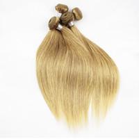 Wholesale human hair weave honey brown online - Color Honey Blonde Bundles Silky Straight Hair Weave Bundles Quality Remy Human Hair Extension Virgin Brazilian Hair Bundles