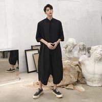 Wholesale leather shorts pants - Jumpsuit Male Loose Harem Pants Overalls Tooling Jumpsuit Hiphop Fashion Trousers Overalls Men Jumpsuit Short Sleeve Overall