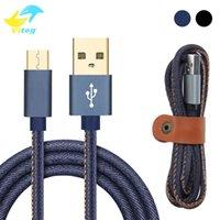 cargador de celular rapido al por mayor-Alta calidad 2A vaquero Micro USB cargador de móvil cable 1M cargador rápido dril de algodón trenzado de cable de teléfono móvil cable de USB para Samsung Huawei