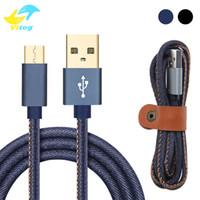schnelle handy-ladegerät großhandel-Qualitäts-2A Cowboy Mikro-USB-Handy-Ladegerät Kabel 1M Fast Charger Denim Geflochtene Kabel Handy-USB-Kabel für Samsung huawei