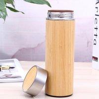 regalos de negocios de regalos al por mayor-Taza de aislamiento térmico de bambú Cerámica Liner Purple Sand Liner Termo de acero inoxidable Negocio Souvenirs de regalo