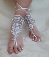 sandalia descalza de encaje al por mayor-2019 mujeres elegantes de encaje playa sandalias descalzas cadena de tobillera barato por encargo dama de honor nupcial pie de la joyería