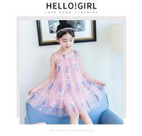 Wholesale korean fans - 2 Style Children's skirt summer new children's clothing Korean version of the big children's girls tide fan sleeveless dress