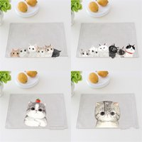 Wholesale modern cat art - Cotton Linen Mat Originality Cartoon Cat Thickening Fabric Art Heat Insulation Table Plate Bowl Pad Coasters Easy To Carry 6ct V