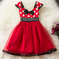 Wholesale Tutu Patterns For Girls - Baby Girl Toddler Girl Pattern Dot Summer Dress Red Children's Costume For Kids Party Dresses Girls Clothes Fancy dress