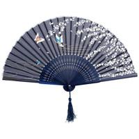 ingrosso ventilatori di mano di ballo giapponesi-Ventaglio di decorazioni per feste di matrimonio con decorazioni floreali a mano in tessuto floreale giapponese cinese