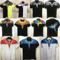 Wholesale high fashion clothing brands - 2018 New Summer Men Women Marcelo Burlon T-Shirt Feather Wings Fashion Brand Clothing High Quality Marcelo Burlon T Shirts